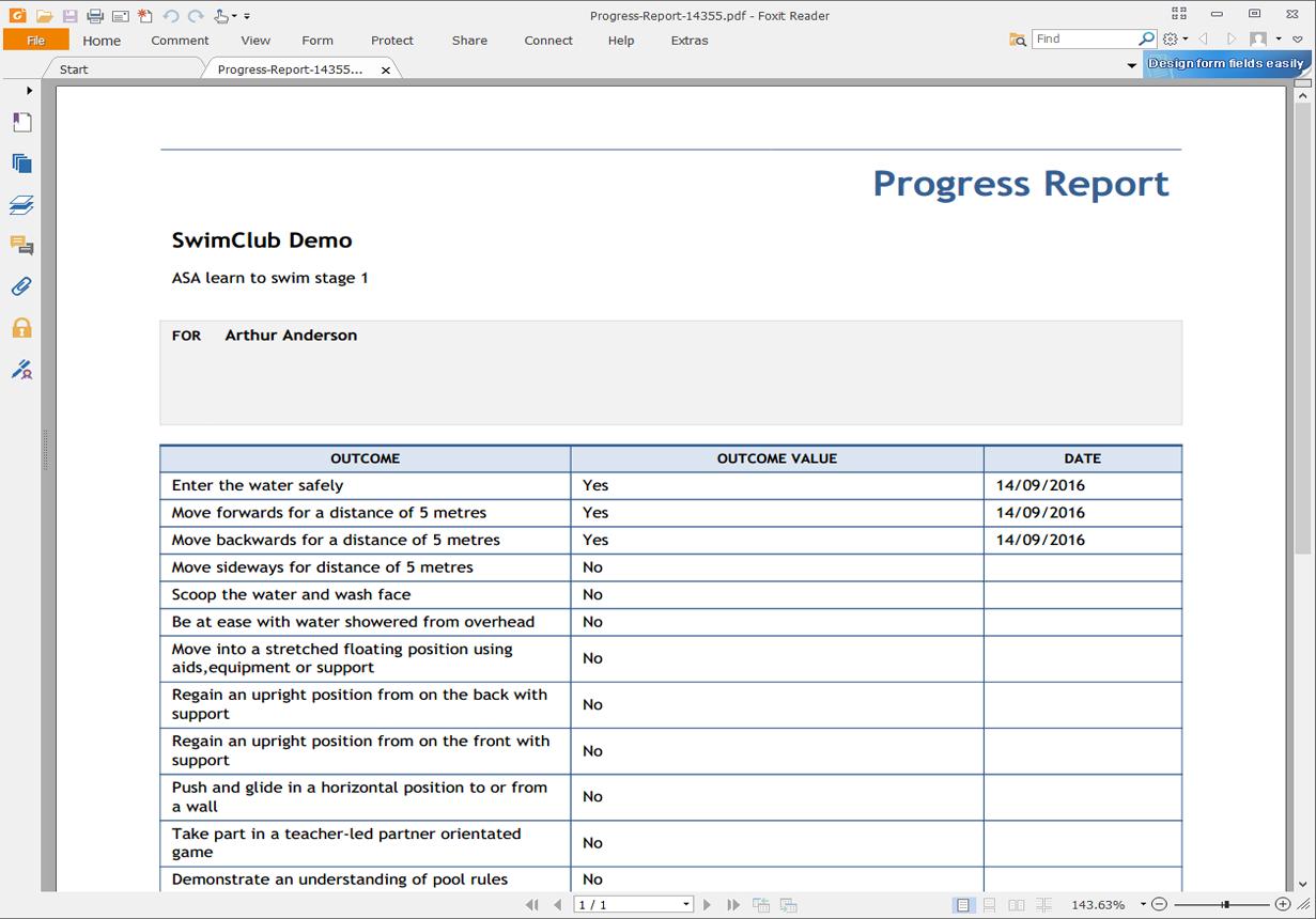 Export progress reports